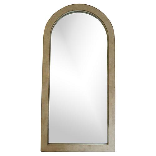 Faux-Snakeskin Stone & Brass Mirror