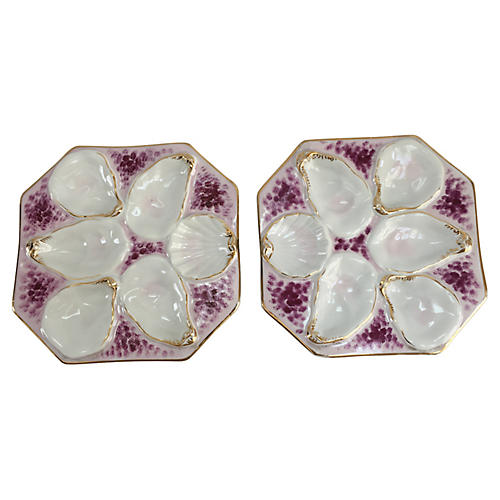French Pink & Magenta Oyster Plates, S/2