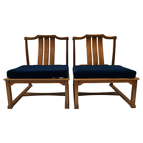 Dunbar Ming-Style Low Lounge Chairs, Pr