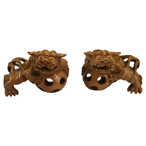 Hand-Carved Guardian Dogs, Pair