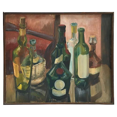 French Wine Bottles Still Life