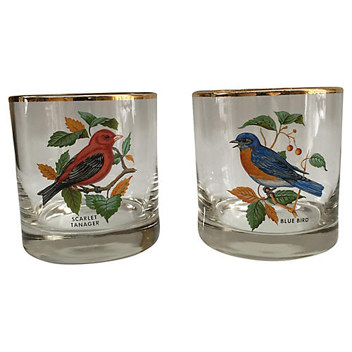 1970s Gilt Bird Rocks Glasses, S/2
