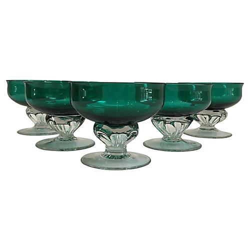 Handblown Emerald Glass Coupes, S/5
