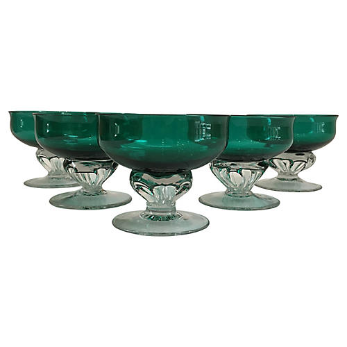 Handblown Emerald Glass Coupes, S/5