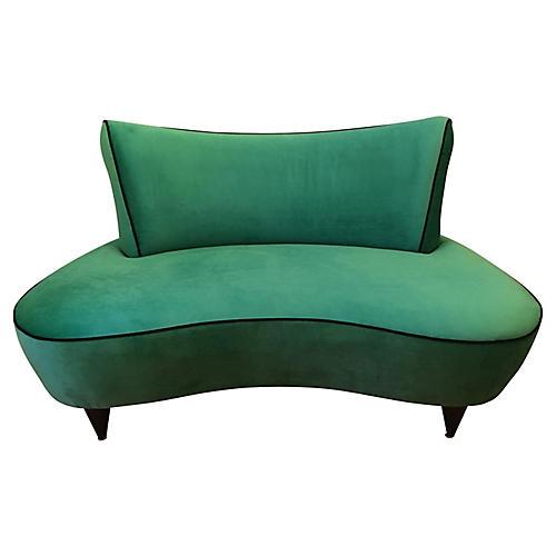 Kagan-Style Emerald Green Settee