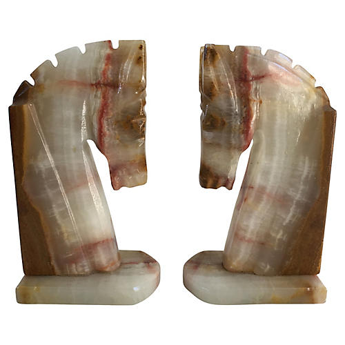 Art Deco-Style Horse Bookends, S/2