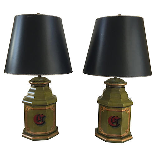 English Tole Monogram Table Lamps, S/2
