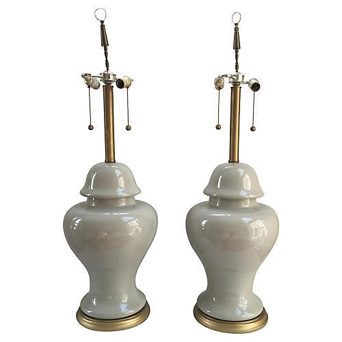 Monumental Celadon Ginger Jar Lamps, S/2