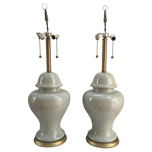 Monumental Celadon Ginger Jar Lamps, S/2