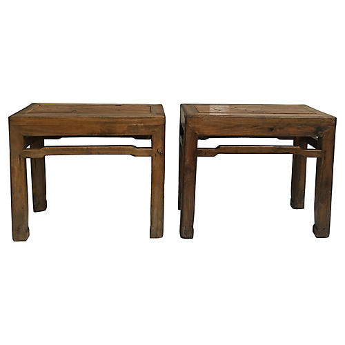 Antique Chinese Cypress Benches, S/2