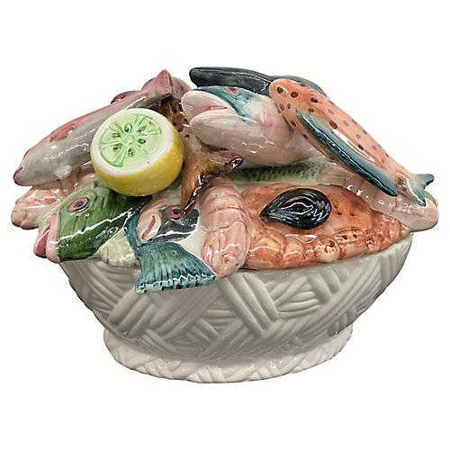Italian Hand-Painted Fish Tureen