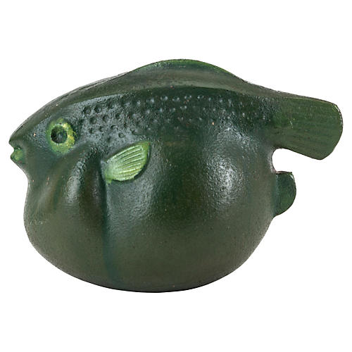 Green Blowfish Sculpture