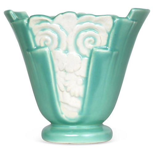 Art Deco Floral Green & White Vase