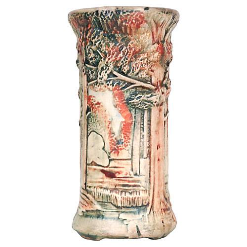 Art Pottery Vase w/ Trees