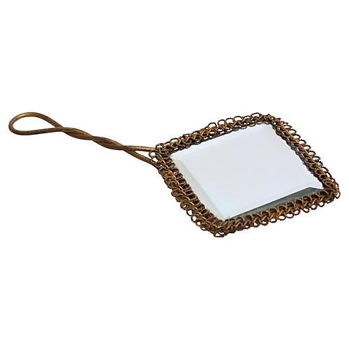 19th-C. French Gilt Hand Mirror