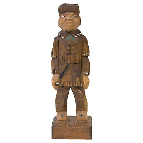 Hand-carved Wooden Trapper Figure
