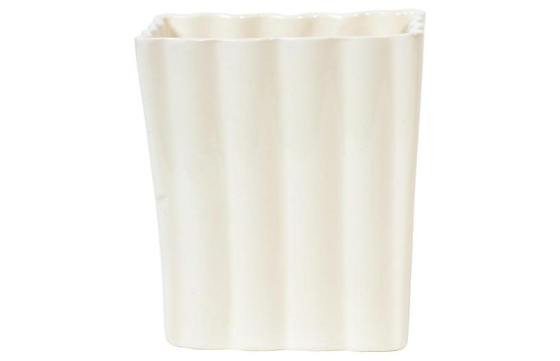 White Ribbed Rectangular Vase