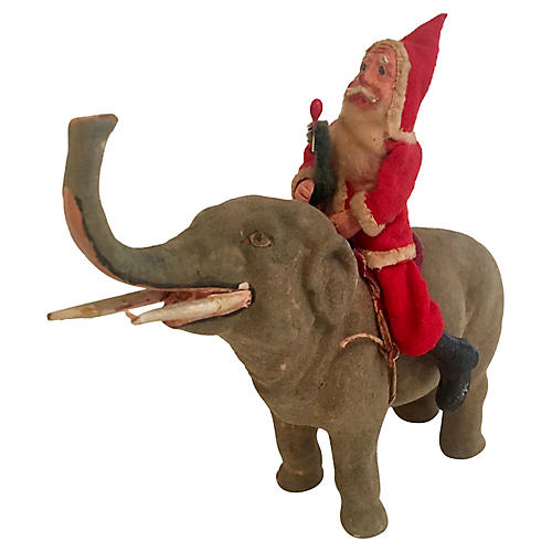 Rare Father Christmas on Elephant