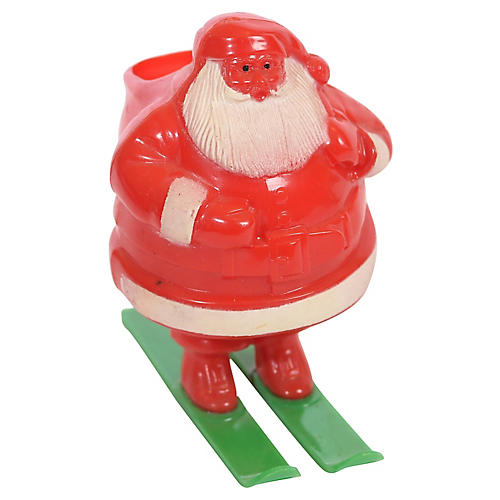 Jolly Santa on Skis Candy Container