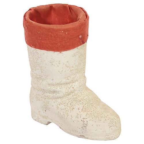 White Papier Mache Santa Boot