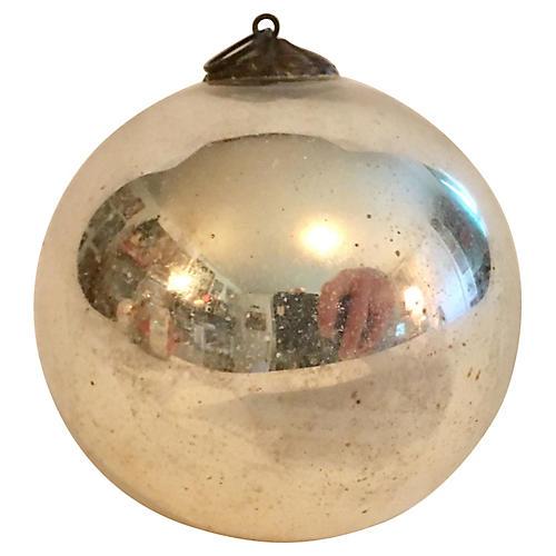 Antique Silver Mercury Glass Kugel