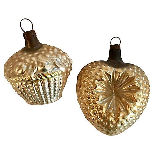 Blown Glass Basket & Heart Ornaments