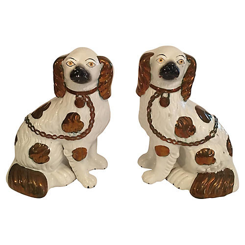 Antique English Staffordshire Spaniels