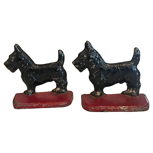 Cast Iron Scottie Dog Bookends, Pair