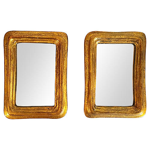 Gilded Wooden Mirrors, Pair