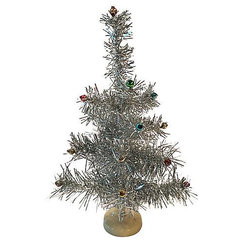 Midcentury Modern Silver Tinsel Tree