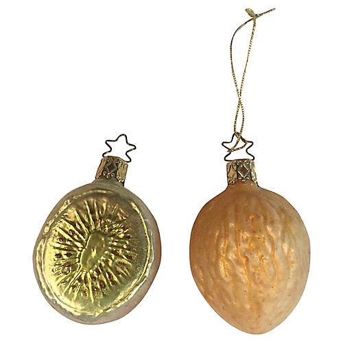 Kiwi & Walnut Blown Glass Ornaments