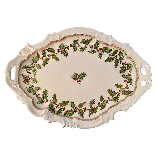 Antique French Porcelain Holly Tray