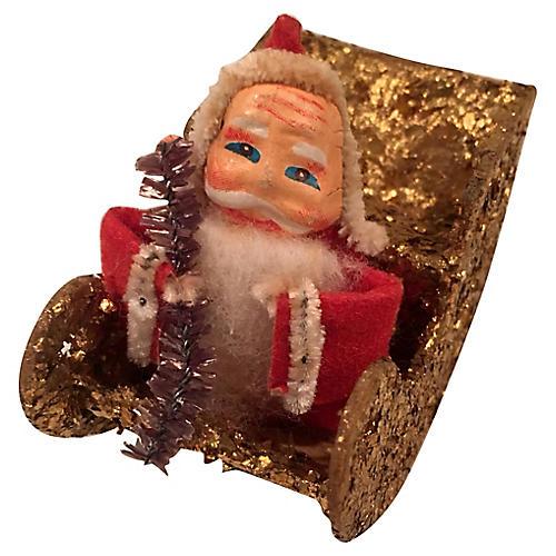 Papier Mache Santa in Glittered Sleigh