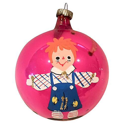 1960s Hot Pink Raggedy Andy Ornament