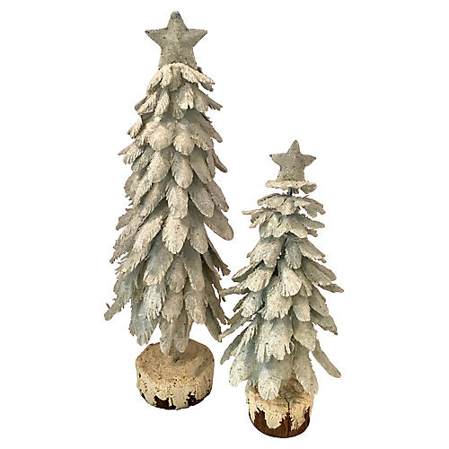 Snow Flocked, Star Topped Trees, Pair