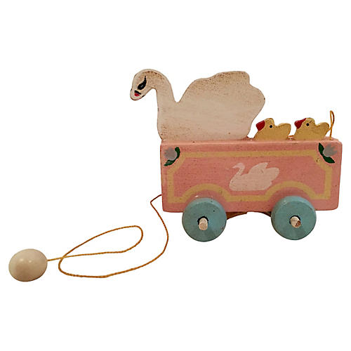 Wooden Swan Pull Toy Ornament