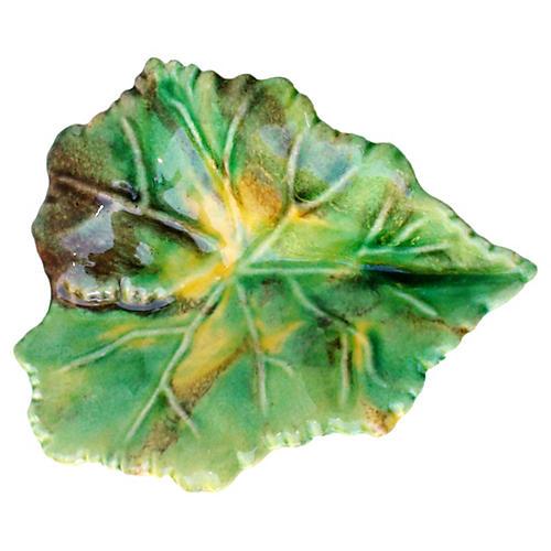 Majolica Porcelain Leaf Plate