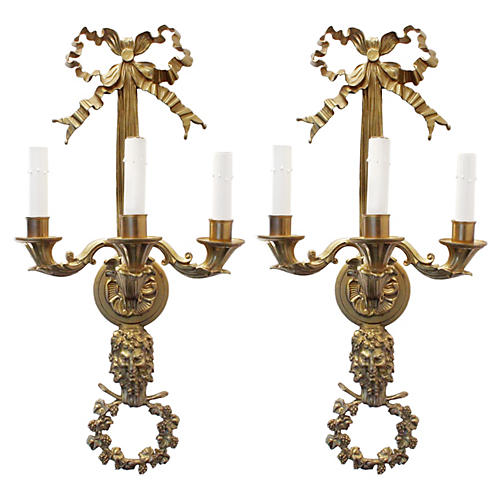 French Doré Brass Sconces, Pair