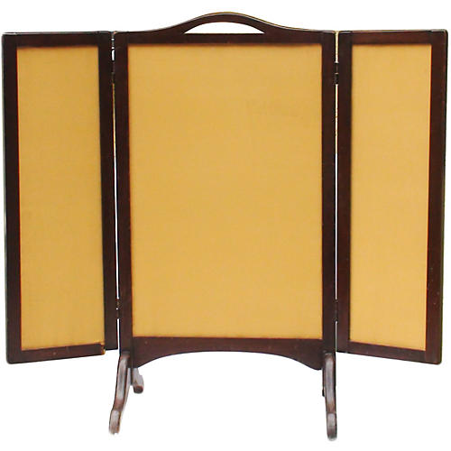 Mahogany & Silk Victorian Fire Screen