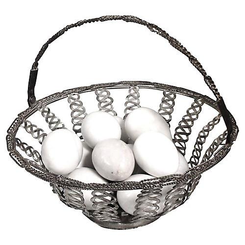 Silver Basket w/ Marble Eggs, 13 Pcs