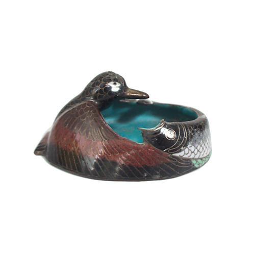 19th-C. Hummingbird & Snake Dish