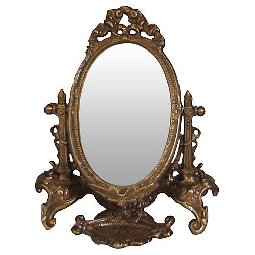 French Bronze Art Nouveau Shaving Mirror