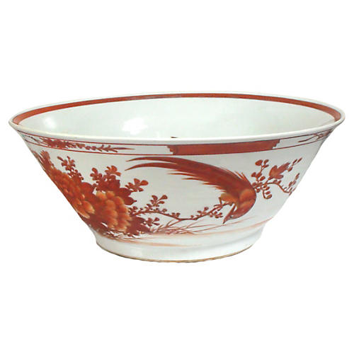 19th-C. Birds of Paradise Serving Bowl