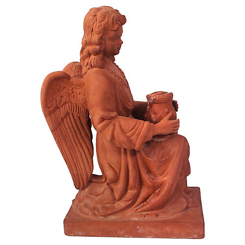 Terracotta Angel Candleholder