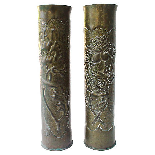 WWI French Shell Casing Vases, Pair
