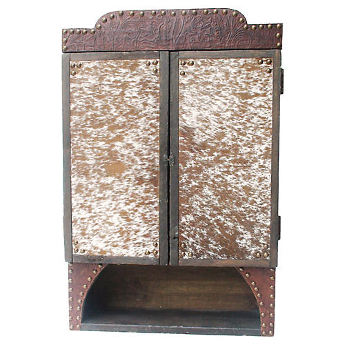 Hand-Tooled Leather & Cowhide Cabinet