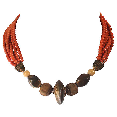 Coral Bead Tribal Necklace