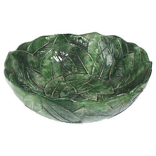 Majolica Overlapped Leaf Bowl