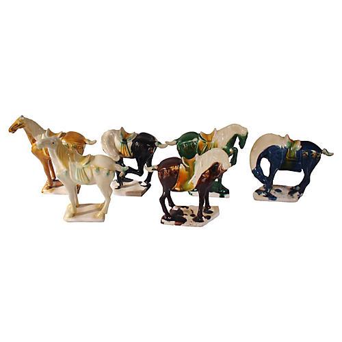 Tang Mini Majolica Horses S/6