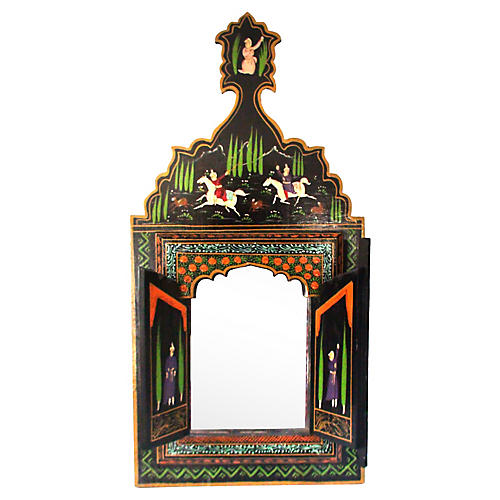 Qajar Equestrian Cased Wall Mirror